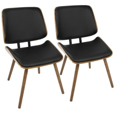 LumiSource Lombardi Chairs Black SeatWalnut Frame