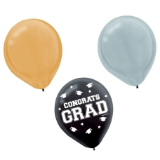 Amscan Graduation Balloons 12 GoldSilverBlack Pack