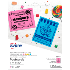 Avery Astrobrights Cardstock Postcards 8 12