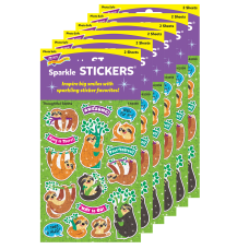 Trend Thoughtful Sloths Sparkle Stickers Assorted