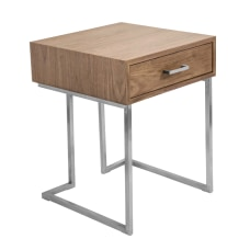 Lumisource Roman Contemporary End Table WalnutStainless