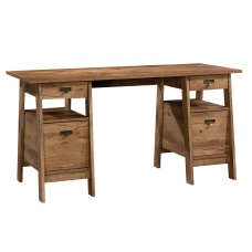 Sauder Trestle Executive Desk Vintage Oak