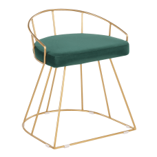 LumiSource Canary Vanity Stool Green SeatGold