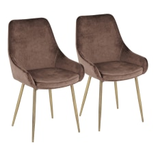 LumiSource Diana Contemporary Chairs BrassBrown Chocolate