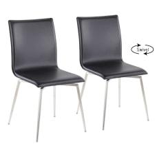 LumiSource Mason Upholstered Chairs BlackStainless Steel
