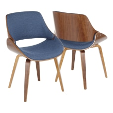 LumiSource Fabrizzi Dining Chair WalnutBlue Denim