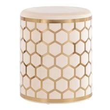 LumiSource Honeycomb Ottoman GoldCream