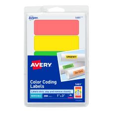 Avery Removable LaserInkjet Organization Labels Color