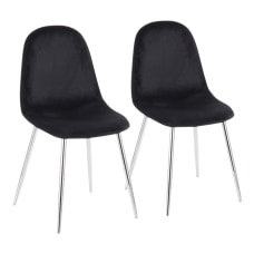 LumiSource Pebble Velvet Chairs BlackChrome Set