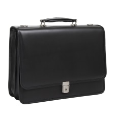 McKlein Lexington Leather Expandable Briefcase Black