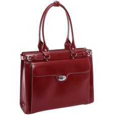 McKlein Winnetka Italian Leather Briefcase Red