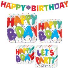 Amscan Birthday Balloons Tableware Kit Multicolor