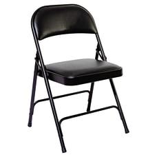 Alera Padded Steel Folding Chairs Graphite