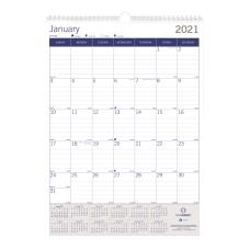 Blueline Duraglobe Monthly Wall Calendar 12