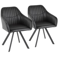 LumiSource Clubhouse Pleated Chairs Black Set