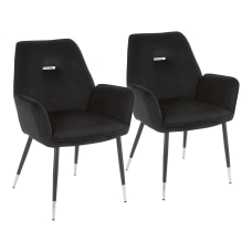 LumiSource Wendy Chairs BlackChrome Set Of