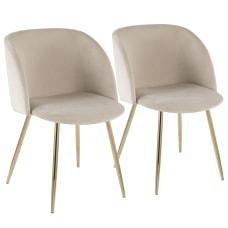 LumiSource Fran Dining Chairs GoldCream Set