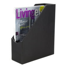 Realspace Black Faux Leather Magazine File