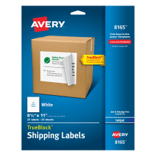 Avery Permanent Full Sheet Labels 8165