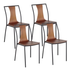 LumiSource Osaka Chairs BlackWalnut Set Of