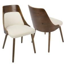 LumiSource Anabelle Chair Cream SeatWalnut Frame