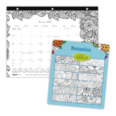 Blueline DoodlePlan Coloring Monthly Mini Desk