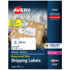 Avery Weatherproof Laser Mailing Labels With
