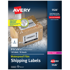 Avery Waterproof Laser Mailing Labels With