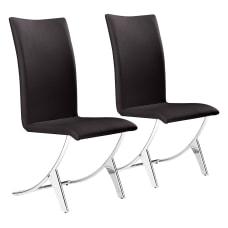 Zuo Modern Delfin Dining Chairs EspressoChrome