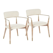 LumiSource Savannah Chairs CreamCopperWhite Washed Set