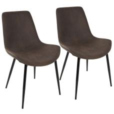 LumiSource Duke Dining Chairs BlackEspresso Set