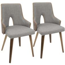 LumiSource Stella Chairs WalnutLight Gray Set