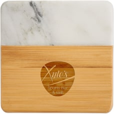 Marble And Bamboo 4 Piece Coaster