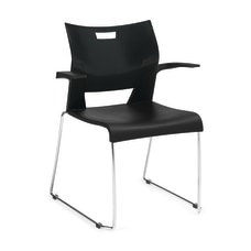 Global Duet Stacking Armchairs BlackChrome Set