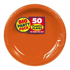 Amscan Plastic Dessert Plates 7 Orange