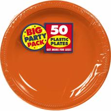 Amscan Plastic Plates 10 14 Orange