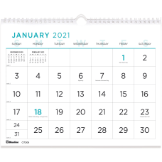 Blueline Large Print Wall Calendar Monthly