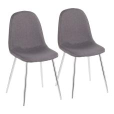 LumiSource Pebble Fabric Chairs CharcoalChrome Set