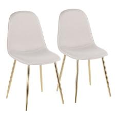 LumiSource Pebble Fabric Chairs BeigeGold Set