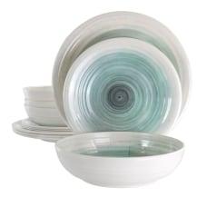 Elama Potters Wheel 12 Piece Dinnerware