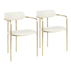LumiSource Demi Chairs CreamGold Set Of