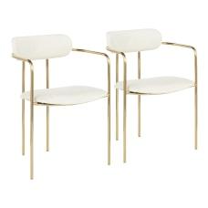 LumiSource Demi Chairs CreamGold Set Of