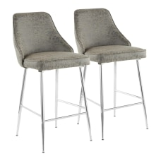 LumiSource Marcel Contemporary Counter Stools ChromeGray