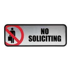 Cosco Brushed Metal No Soliciting Sign