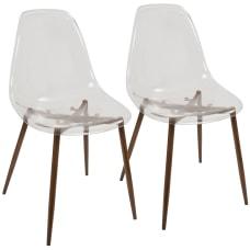 LumiSource Clara Dining Chairs WalnutClear Set