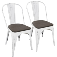 LumiSource Oregon Stackable Dining Chairs WhiteEspresso