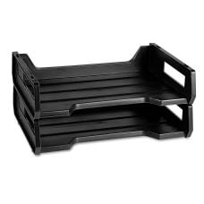 Desk Trays Letter Size Black Pack