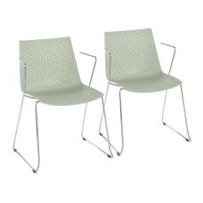 LumiSource Matcha Chairs ChromeGreen Set Of