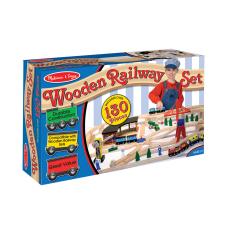 Melissa Doug Wooden Railway Set