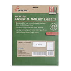 SKILCRAFT 100percent Recycled White InkjetLaser Address